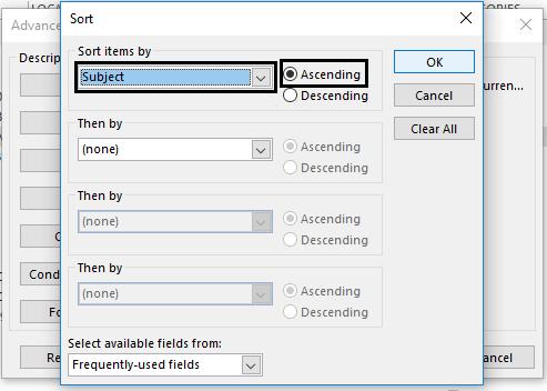 select Ascending option